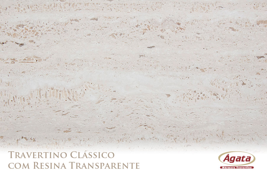 Travertino com resina transparente